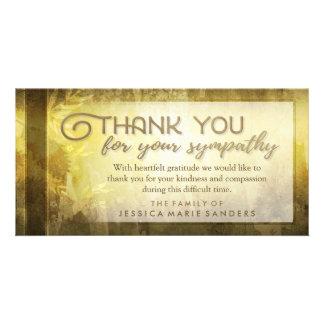 Las hojas de oro le agradecen tarjeta de tarjetas con fotos personalizadas