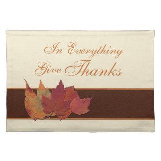 Las hojas de otoño dan las gracias Placemat Mantel Individual