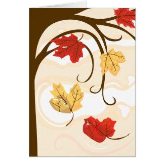 Las hojas de otoño deben caer tarjeta de