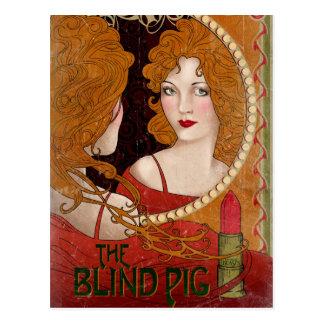Las ilustraciones ciegas del vintage del cerdo postal