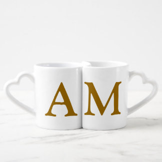 las iniciales de los pares personalizadas set de tazas de café