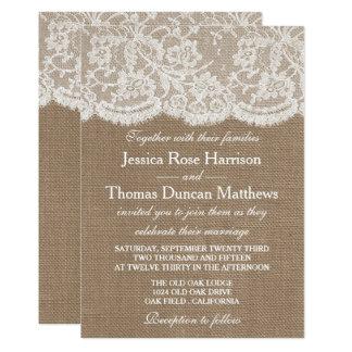 Las invitaciones de la colección de la arpillera y invitación 12,7 x 17,8 cm