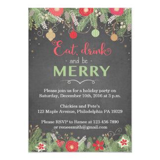 Las invitaciones de la fiesta de Navidad - coma la Invitación 12,7 X 17,8 Cm