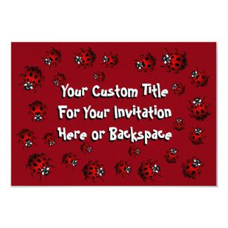 Las invitaciones de la mariquita personalizaron la invitación 8,9 x 12,7 cm