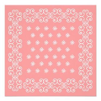 Las invitaciones rosadas del pañuelo de la vaquera comunicados personales