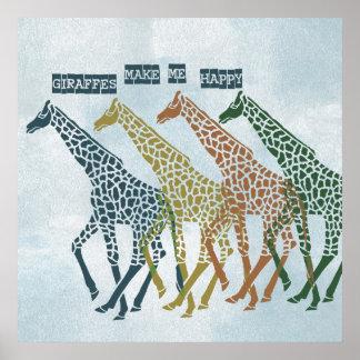 Las jirafas me hacen feliz posters