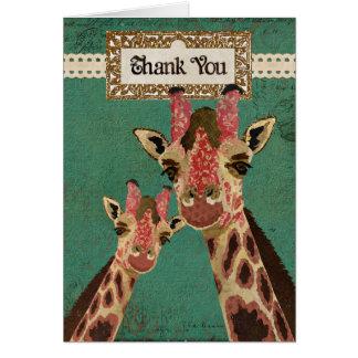 Las jirafas rosadas y de bronce florales le agrade tarjeta de felicitación