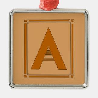 Las líneas rectas art déco con el monograma, letra ornamento de navidad