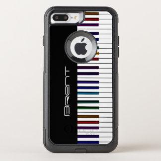 Las llaves del piano con el arco iris oscuro funda commuter de OtterBox para iPhone 7 plus