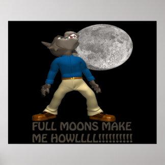 Las Luna Llena hacen que grita Impresiones