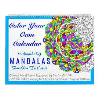 Las mandalas colorean su propio color calendarios de pared