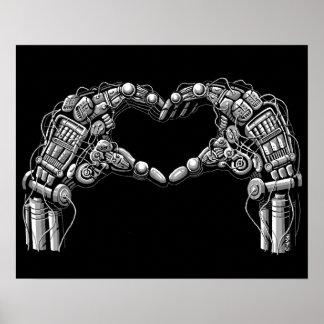 Las manos del robot hacen forma del corazón póster