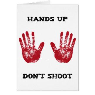 Las manos para arriba no tiran, la solidaridad tarjeta de felicitación