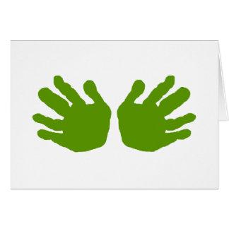 Las manos ponen verde los regalos de Zazzle del MU Tarjeta De Felicitación