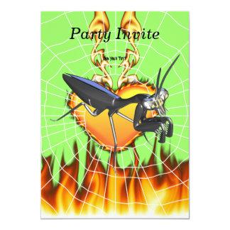 Las mantis religiosas cromadas diseñan 1 con el invitación 12,7 x 17,8 cm