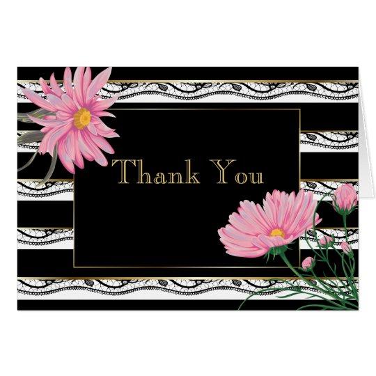 Las margaritas rosadas de las rayas negras tarjeta pequeña