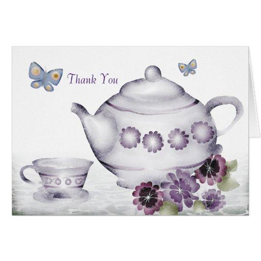 las mariposas de la tetera de la taza de té de las tarjeta de felicitación