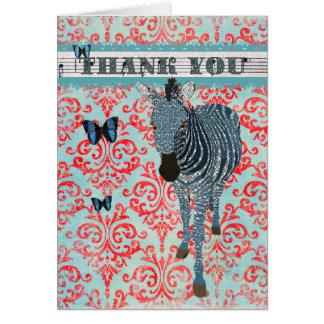 Las mariposas y la cebra azules de Boho le agradec Tarjetón
