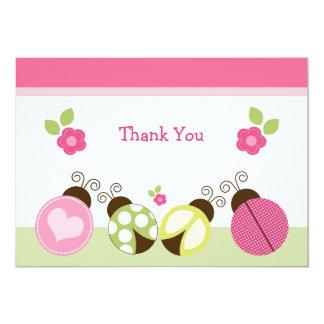 Las mariquitas y las flores bonitas le agradecen invitación 12,7 x 17,8 cm