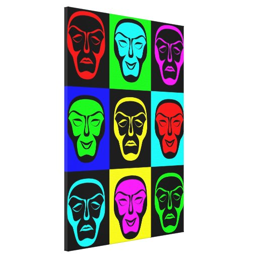 Las máscaras de teatro envolvieron la lona lona estirada galerias