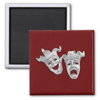 Las máscaras del teatro diseñan marrón imán cuadrado