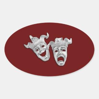 Las máscaras del teatro diseñan marrón pegatina ovalada