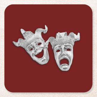 Las máscaras del teatro diseñan marrón posavasos personalizable cuadrado