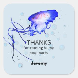 Las medusas de la fiesta en la piscina del pegatina cuadrada