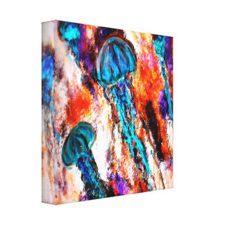 Las medusas saltan eléctrico impresión en lienzo