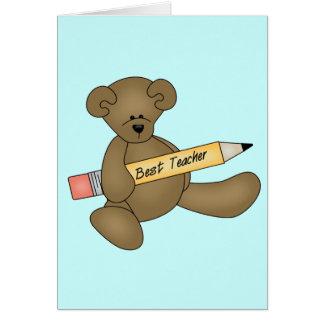 Las mejores camisetas y regalos del oso y del prof tarjeta de felicitación