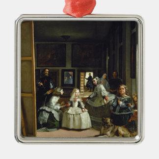 Las Meninas o la familia de Philip IV, c.1656 Adorno Cuadrado Plateado