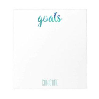 Las metas verdes de moda de la acuarela bloc de notas