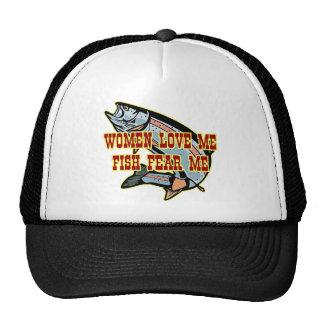 Las mujeres me aman que los pescados me temen gorro de camionero