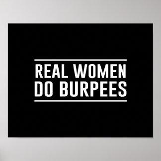 Las mujeres reales hacen Burpees Póster