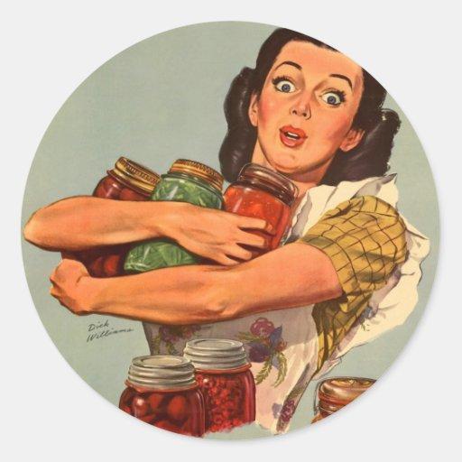 ¡Las mujeres retras WW2 del vintage por supuesto p Pegatinas Redondas