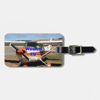 Las mujeres vuelan: aviones de ala alta etiquetas para maletas