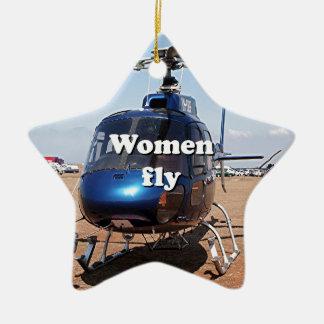 Las mujeres vuelan: helicóptero azul adorno navideño de cerámica en forma de estrella