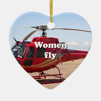 Las mujeres vuelan: helicóptero rojo adorno navideño de cerámica en forma de corazón