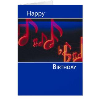 Las notas del cumpleaños, celebran y gozan en azul tarjeta de felicitación