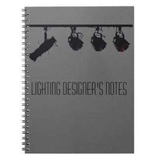 Las notas del diseñador de iluminación cuaderno