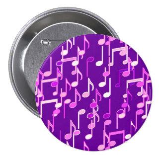 Las notas musicales imprimen - la púrpura violeta, chapa redonda de 7 cm