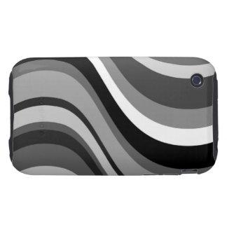 Las ondas modernas retras, curvas se ennegrecen, iPhone 3 tough fundas