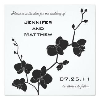 Las orquídeas ahorran la fecha - blanco y negro invitación 13,3 cm x 13,3cm