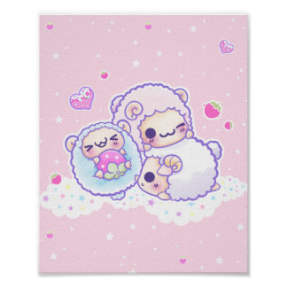 Las ovejas lindas del caramelo de algodón póster