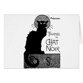 Las palabras francesas del gato negro de Halloween Tarjeta