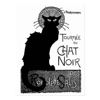 Las palabras francesas del gato negro de Halloween Postales