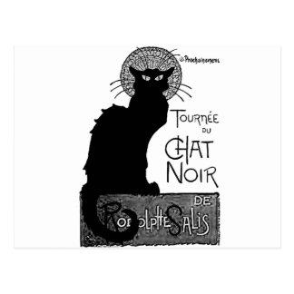 Las palabras francesas del gato negro de Halloween Postal