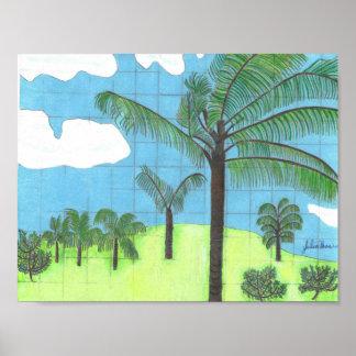 Las palmeras hawaianas de Julia Hanna Póster