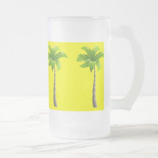 Las palmeras helaron la taza del vidrio esmerilado