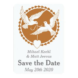 Las palomas elegantes del amor del boda gay invitación 11,4 x 15,8 cm